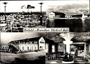 Ak Mörbisch am See im Burgenland, Seehotel, Strandbad, Terrasse, Innenansicht