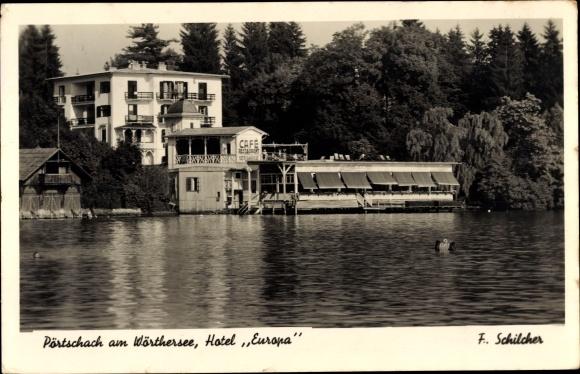 Ak Pörtschach am Wörther See in Kärnten, Hotel Europa, Cafe Seepromenade