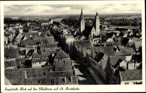 Ak Ingolstadt an der Donau Oberbayern, Blick auf den Pfeifturm u. St. Moritzkirche