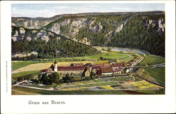 Ak Beuron in Baden Württemberg, Panorama vom Ort