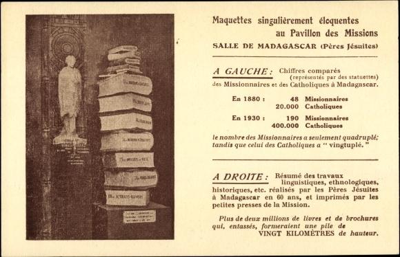 Ak Mission de Madagascar, Pères Jésuites, Statue, Bücher, Anzahl der Missionare
