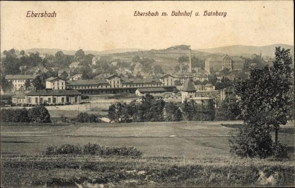 Ak Ebersbach Neugersdorf Landkreis Görlitz, Bahnhof, Hainberg
