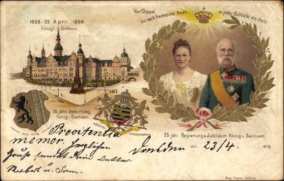 Präge Wappen Litho König Albert von Sachsen, Königin Carola, 25. jähr. Regierungsjubiläum 1898