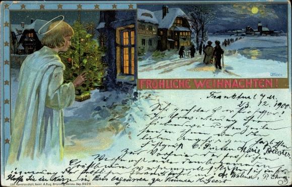 Litho Frohe Weihnachten, Christkind, Nachtszene