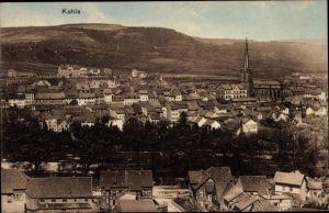 Ak Kahla im Saale Holzland Kreis Thüringen, Blick auf den Ort, Kirche