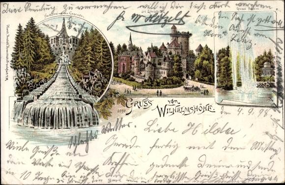 Litho Bad Wilhelmshöhe Kassel, Löwenburg, Herkules, Kaskaden