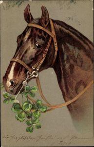 Präge Litho Pferd mit Kleeblättern im Maul