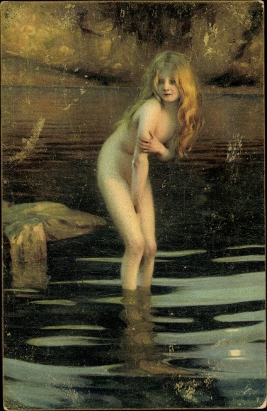 Künstler Ak Chabas, Im Zwielich, Blonde junge Frau im Wasser badend, Stengel 29245
