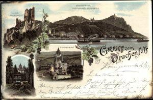Litho Königswinter am Rhein, Ruine Drachenfels, Drachenburg, Zahnradbahn
