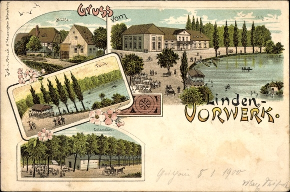 Litho Kohren Sahlis Frohburg in Sachsen, Linden Vorwerk, Mühle, Kolonnaden