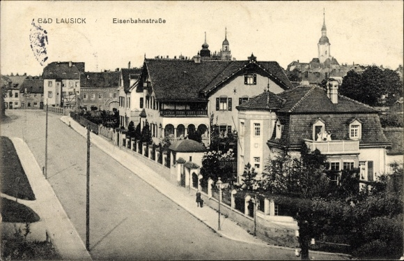 Ak Bad Lausick in Sachsen, Eisenbahnstraße, Villen