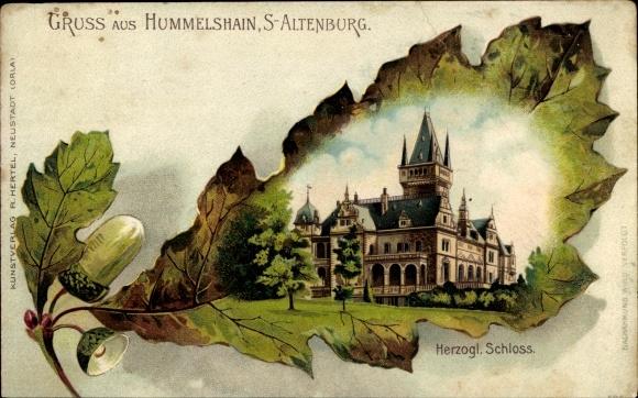 Eichenblatt Litho Hummelshain in Thüringen, Herzogl. Schloss