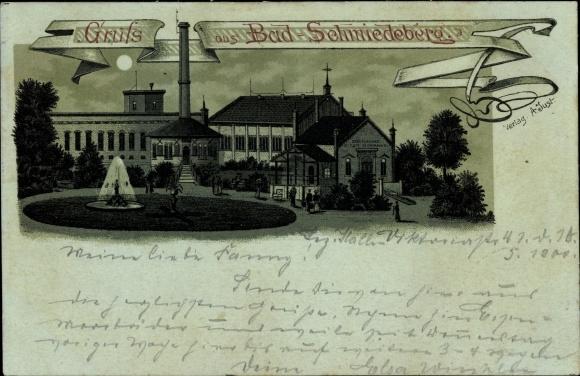 Mondschein Litho Bad Schmiedeberg in der Dübener Heide, Städtisches Eisen Moorbad