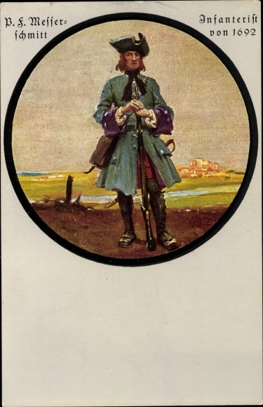 Künstler Ak Messerschmitt, P.F., Infanterist von 1692