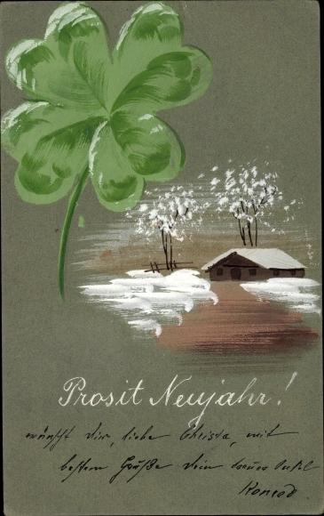 Handgemalt Ak Glückwunsch Neujahr, Kleeblatt, Winterszene