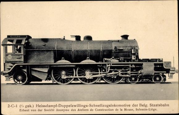 Ak Belgische Eisenbahn, Chemins de fer de l'Etat Belge, 2C1 Heißdampf Doppelzwillings Schnellzug Lok