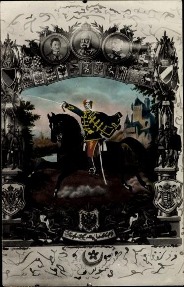 Künstler Ak Ungarischer? Husar, Kaiser Franz Joseph I., Karl, Erzherzog Friedrich, Türkische Schrift