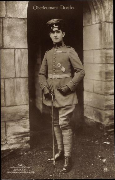 Ak Deutscher Kampfflieger, Oberleutnant Eduard von Dostler, Portrait, Sanke 548