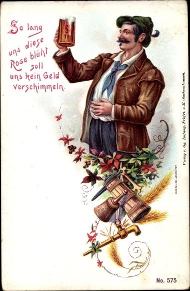 Litho So lang uns diese Rose blüht soll uns kein Geld verschimmeln, Bier