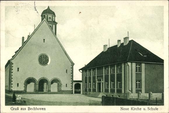 Ak Bechhofen Mittelfranken, Neue Kirche und Schule