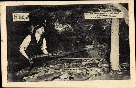 Ak Eisleben Sachsen Anhalt, Hermannschacht, 5. Tiefbausohle, Bohrmaschine