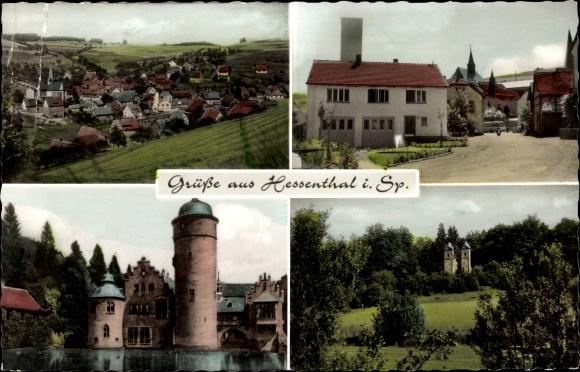 Ak Hessenthal Mespelbrunn Spessart, Schloss Mespelbrunn, Dorf