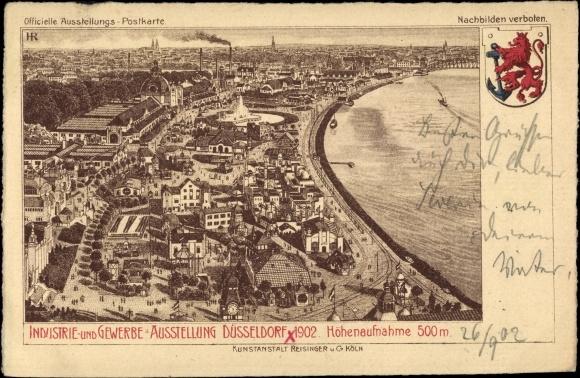 Ganzsachen Litho Düsseldorf am Rhein, Industrie- und Gewerbeausstellung 1902