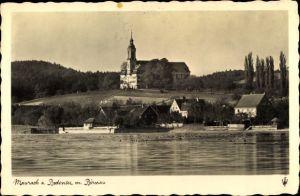 Ak Uhldingen Mühlhofen am Bodensee, Schloss Maurach, Wasserpartie, Zisterzienser Probstei Birnau