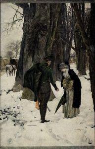 Künstler Ak v. Haug, Rob., Abschied, Soldat verabschiedet sich von Frau, Winter
