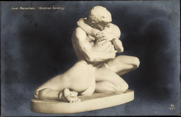 Ak Plastik Zwei Menschen von Stephan Sinding, küssendes Liebespaar, GG Co 5337