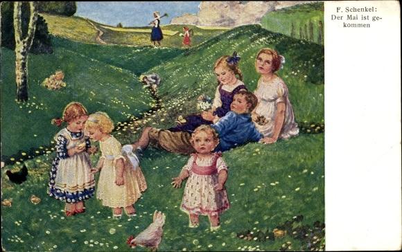 Künstler Ak Schenkel, Franziska, Der Mai ist gekommen, Kinder, Huhn, Wiese
