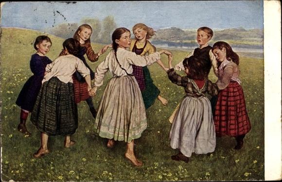 Künstler Ak Thoma, Hans, Kinderreigen, Kinder tanzen auf der Wiese