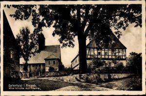 Ak Grünhain Beierfeld im Erzgebirge Sachsen, Alte Kirche mit Pfarre