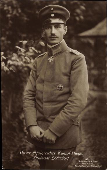 Ak Deutscher Kampfflieger, Leutnant Walter Höhndorf, Portrait, Sanke 381