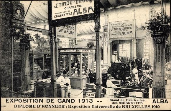 Ak Gent Ostflandern, Expo 1913, Stand de Fabrication des Cigarettes Alba
