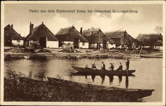 Ak Kępa Trzebiatów Kamp Pommern, Fischerdorf, Ruderboot
