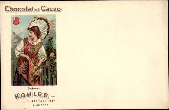 Litho Chocolat et Cacao Kohler, Lausanne, Schwyzer Tracht
