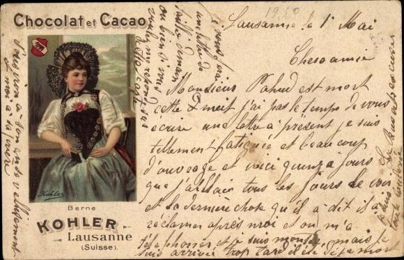 Litho Chocolat et Cacao Kohler, Lausanne, Berner Tracht