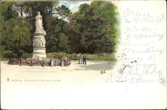 Künstler Litho T. v. E., Berlin Tiergarten, Denkmal d. Königin Louise, Totalansicht, Spaziergänger
