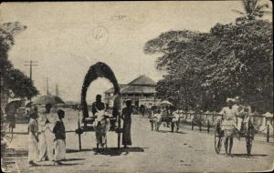 Ak Colombo Ceylon Sri Lanka, Colpetty Road, Colombo Club, Rikscha
