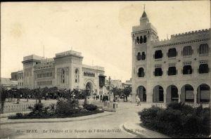 Ak Sfax Tunesien, Le Théatre et le Square de l'Hôtel de Ville