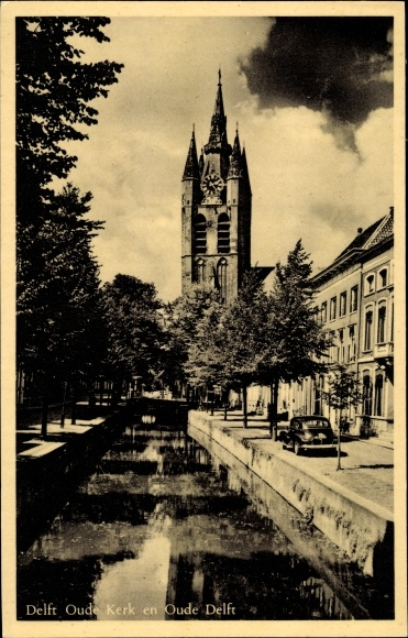 Ak Delft Südholland Niederlande, Oude Kerk, Kanal