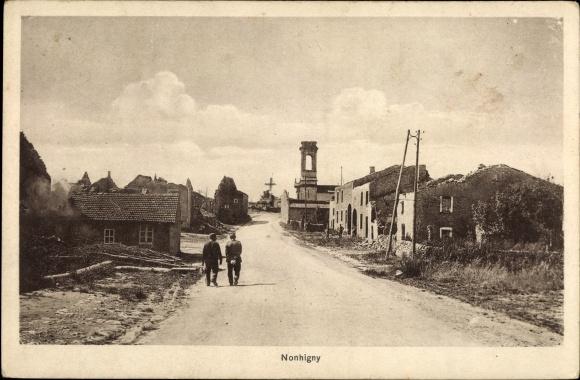 Ak Nonhigny Lothringen Meurthe et Moselle, Kriegszerstörungen, I. WK