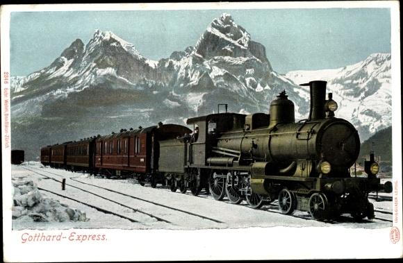 Ak Schweiz, Gotthard Express, Dampflokomotive und Waggons, Winter