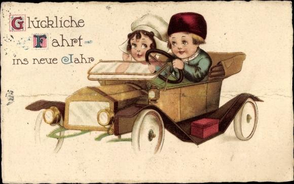 Ak Glückwunsch Neujahr, Paar in einem Automobil, Glückliche Fahrt