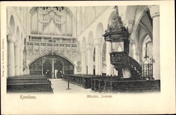Ak Konstanz am Bodensee, Münster, Inneres, Orgel, Kanzel