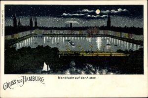Mondschein Litho Hamburg, Mondnacht auf der Alster