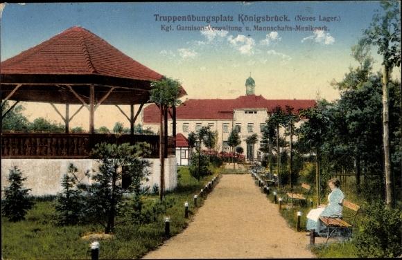 Ak Königsbrück in der Oberlausitz, Truppenübungsplatz, Neues Lager, Kgl. Garnisonverwalt. Musikpark