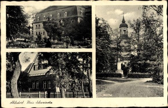 Ak Ahlsdorf Schönewalde Brandenburg, Schloss, Kinderheim, Kirche