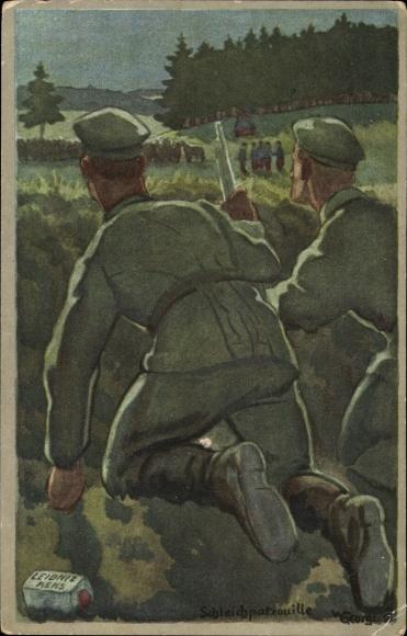 Künstler Ak Georgi, W., Deutsche Soldaten beobachten Franzosen, Leibniz Keks, I. WK